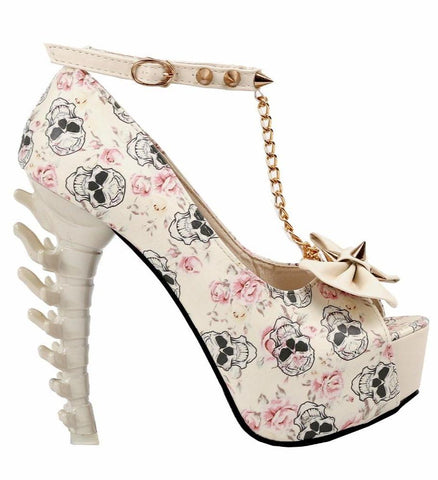 Skull High Heels Beige Shoes