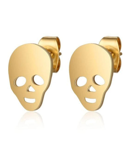 Skull Metal Earrings Gold