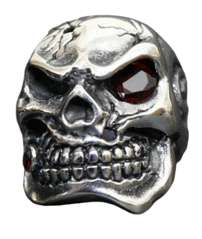 skull ring with ruby eye