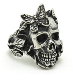 Skull Ring With Butterfly | Skull Action