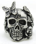 skull ring with butterfly