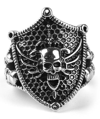 skull shield ring