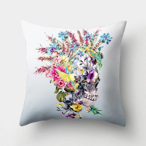 Skull With Roses Pillow