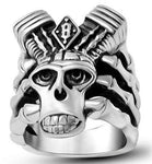 stainless steel skull biker ring