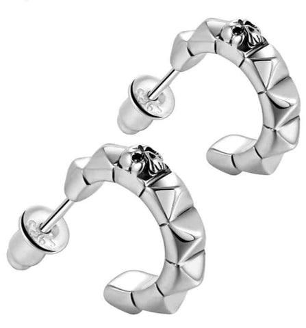 Sterling Silver Skull Hoop Earrings