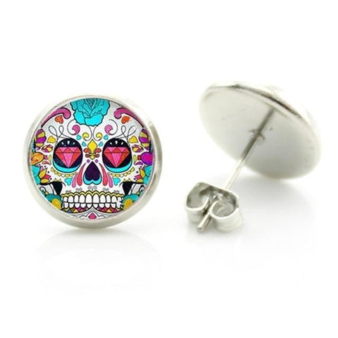 sugar skull hoop earrings