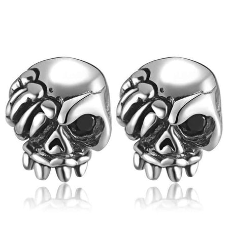 Tiny Skull Earrings Sterling Silver