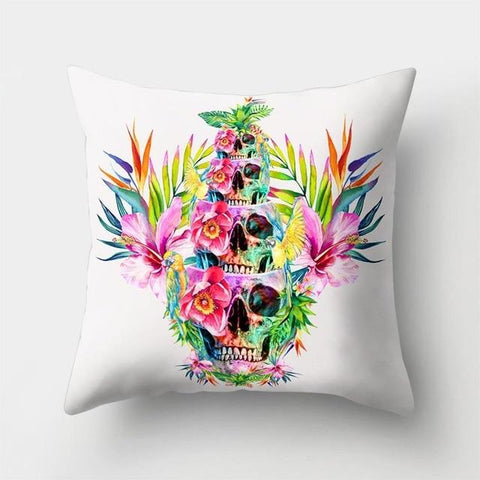 Tropical Skull Pillow