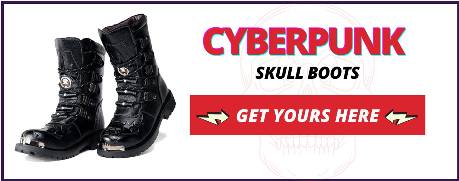 Skull boots leather
