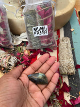 Load image into Gallery viewer, Purifying Smudge Bundle with Labradorite Crystal & Amber Resin by Mumu Fresh
