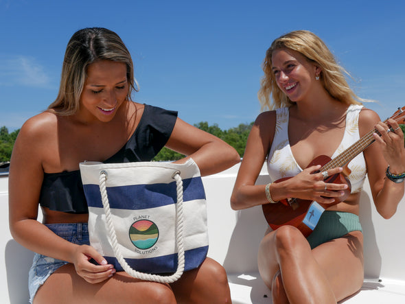 Beach Bag made from ocean trash