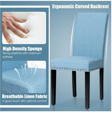 Blue Padded Fabric Dining Chairs