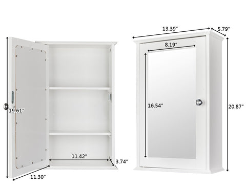 Wall mounted medicine cabinet with mirror