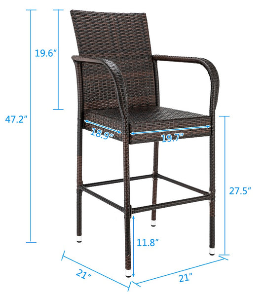 Wicker Bar Stools Counter Height Outdoor Rattan Chairs
