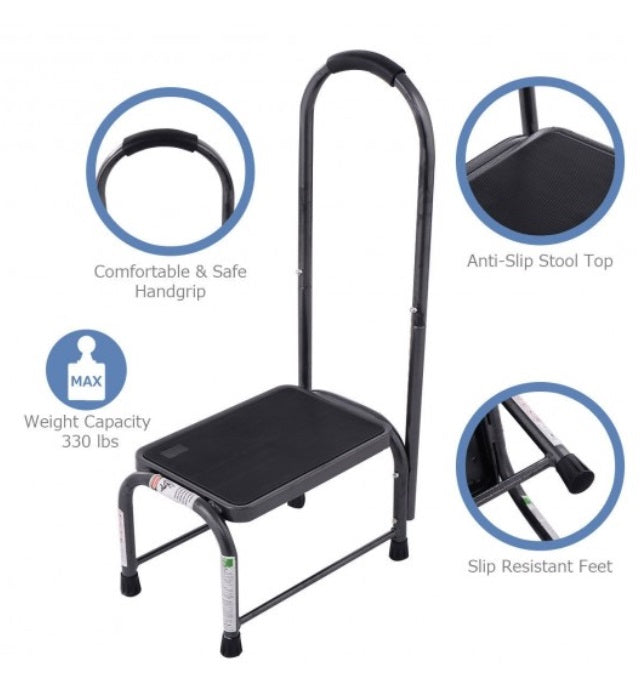 Step Stool Heavy-Duty Handle Non-Slip Grip & Feet 330 LB Capacity
