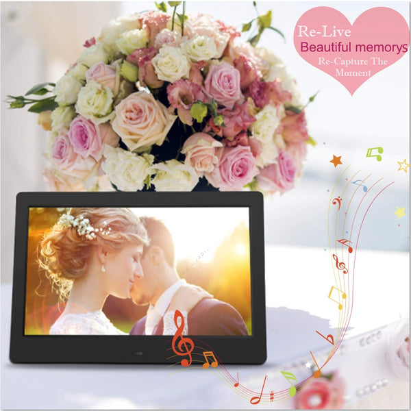 Digital Picture Frame 8-Inch Screen With Photo Video & Music Playback