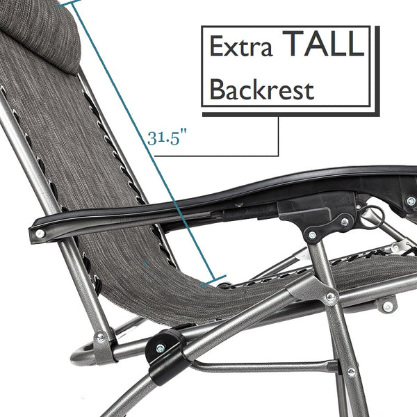 Big And Tall Zero Gravity Chair Reclining Lounge With Canopy