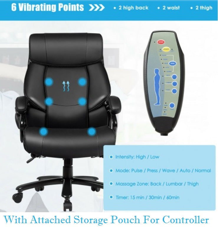 Big And Tall Office Chair 400 LB Capacity With Massage Extra Wide Seat