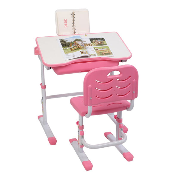 Kids Study Desk Adjustable Writing Table With Chair For Children