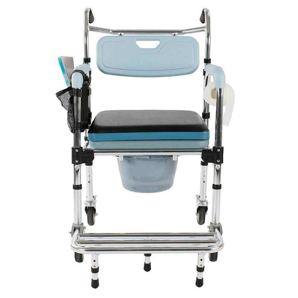 MedEase Shower Chair With Wheels Rolling Commode For Transport