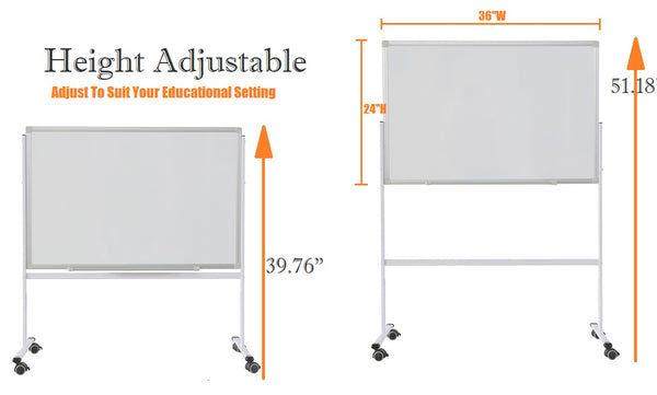 "Whiteboard On Wheels 36"" x 24"" Double Sided Magnetic Dry Erase"