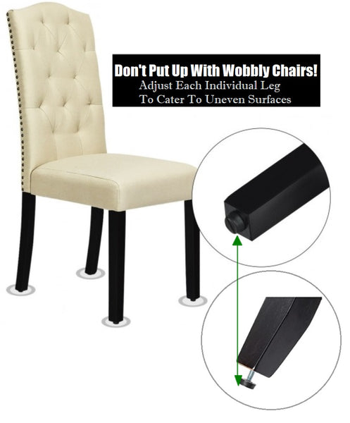 Tufted Dining Chair Set High Backrest 330LB Capacity For Heavy People