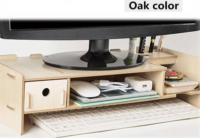 Tidy-Desk™ Shelf Riser Wooden Monitor Stand With Shelf & Drawers