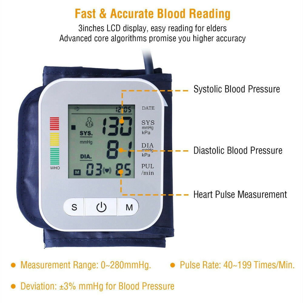 Blood Pressure Monitor & Cuff Upper Arm Digital LCD Battery Operated