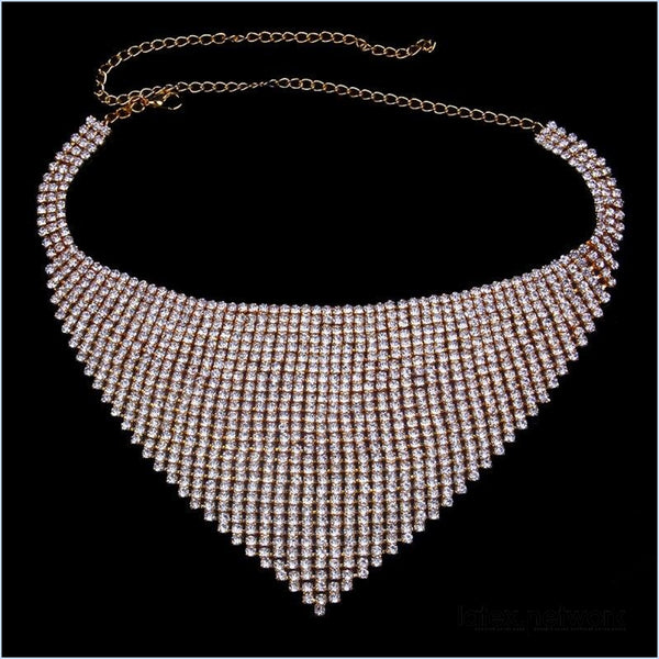 Bib Choker Necklace Gold-Color
