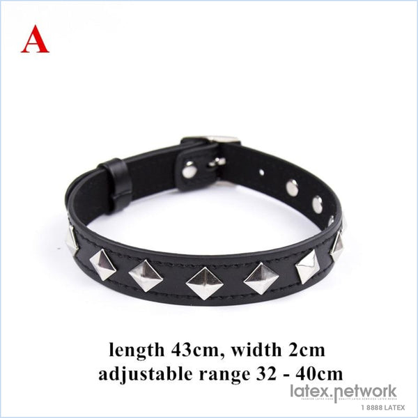 Fetish Dog Slave Bondage Neck Collar Pu Leather Punk Rivets Necklace Bdsm Restraints Sex Erotic