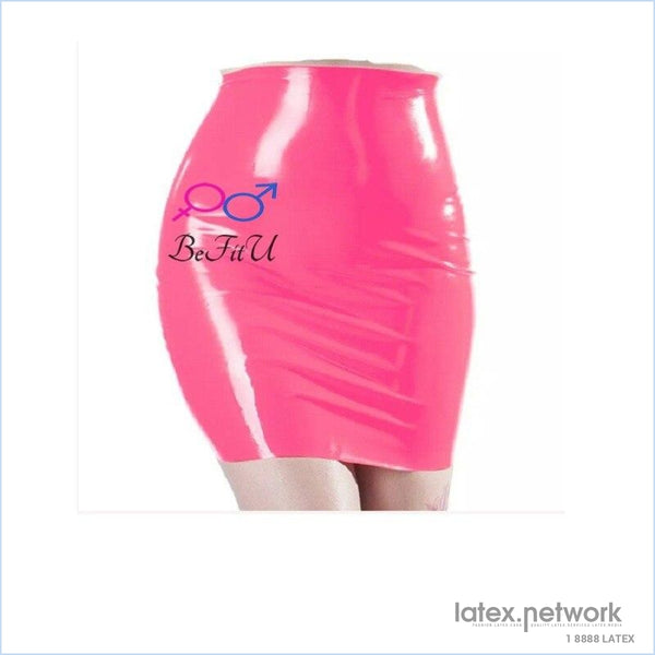 Hot New Latex Sexy Mini Party Skirt Rose Pink And Black Seamless Hip Hole Slits Full Cover / M
