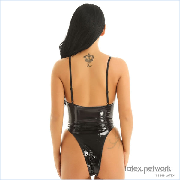 Iiniim Womens Wetlook Catsuit Patent Leather Lingerie Sexy Clubwear Dance Spaghetti Straps High Cut