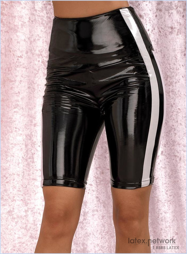 Love&lemonade Sexy Black High Waist Stitching Stripe Reflective Elastic Pu Shorts Lm82013
