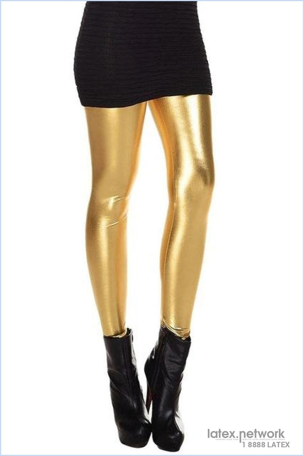 Metallic Wet Look Liquid Leggings Shiny Stretch Women Pencil Pants(Gold)