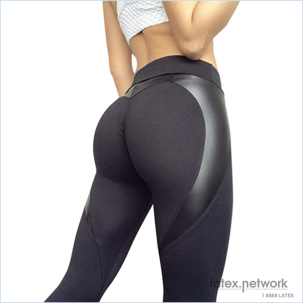 New Black Heart Shape Booty Leggings Pu Leather Patchwork Skinny Long Pants Women Push Up Workout