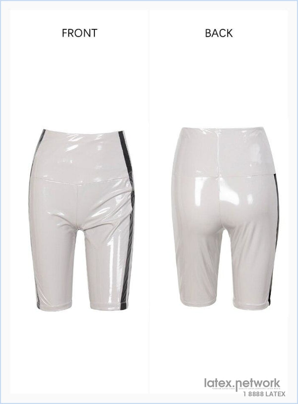 Sexy Gary High Waist Stitching Stripe Reflective Elastic Pu Shorts Autumn/winter