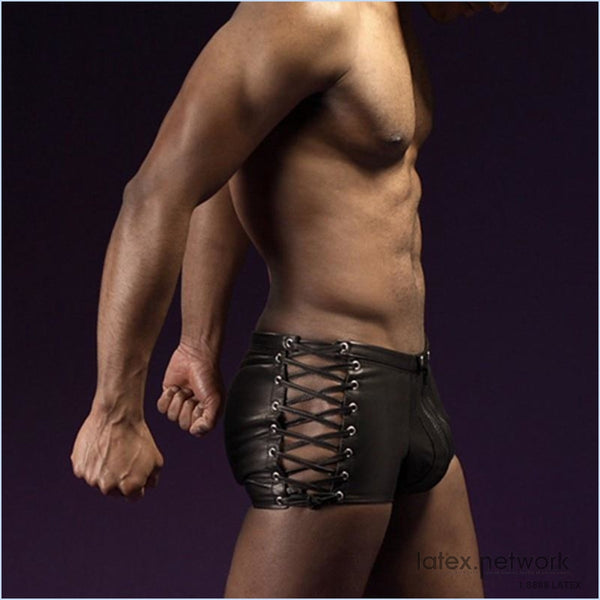 Sexy Lingerie Hot Mens Latex Pvc Bondage Open Crotch Leggings Shorts Gothic Fetish Gay Faux Leather