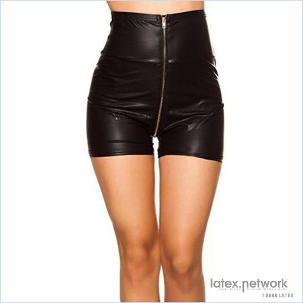 Sexy Pu Leather Shorts Women Zipper Red Black High Waist Hot Gil Clubwear Autumn Winter Black / S
