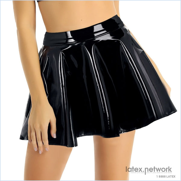 Women Casual Fashion Punk Mini Skirt Dance Rave Outfit Wet Look Pu Leather High Waist Flared Pleated