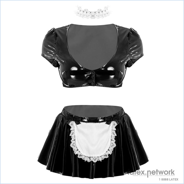 Womens Female Maid Cosplay Clubwear Costumes Outfit Deep V-Neck Short Sleeve Crop Top With Flared