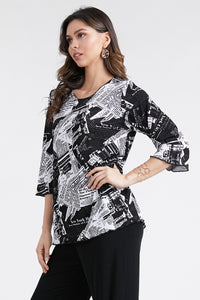 Jostar Women's Stretchy Merrow Top 3/4 Sleeve Print Plus, 158BN-QXP-W120 - Jostar Online