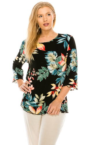 Jostar Women's Stretchy Merrow Top Three Quarter Print, 158BN-QP-W189 - Jostar Online