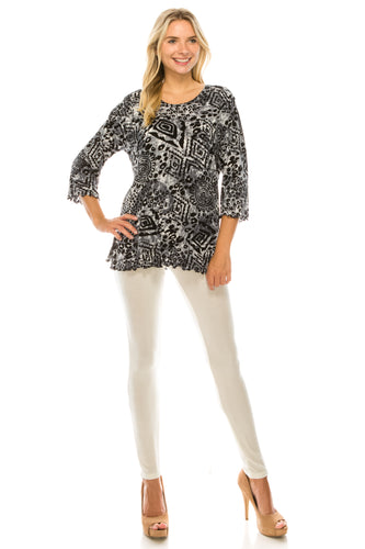 Jostar Women's Stretchy Merrow Top Three Quarter Print, 158BN-QP-W277 - Jostar Online