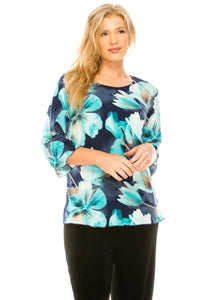 Jostar Women's Stretchy Merrow Top Three Quarter Print-158BN-QRP1-W050 - Jostar Online