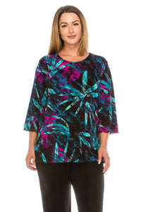 Jostar Women's Stretchy Merrow Top Three Quarter Print, 158BN-QP-W101 - Jostar Online