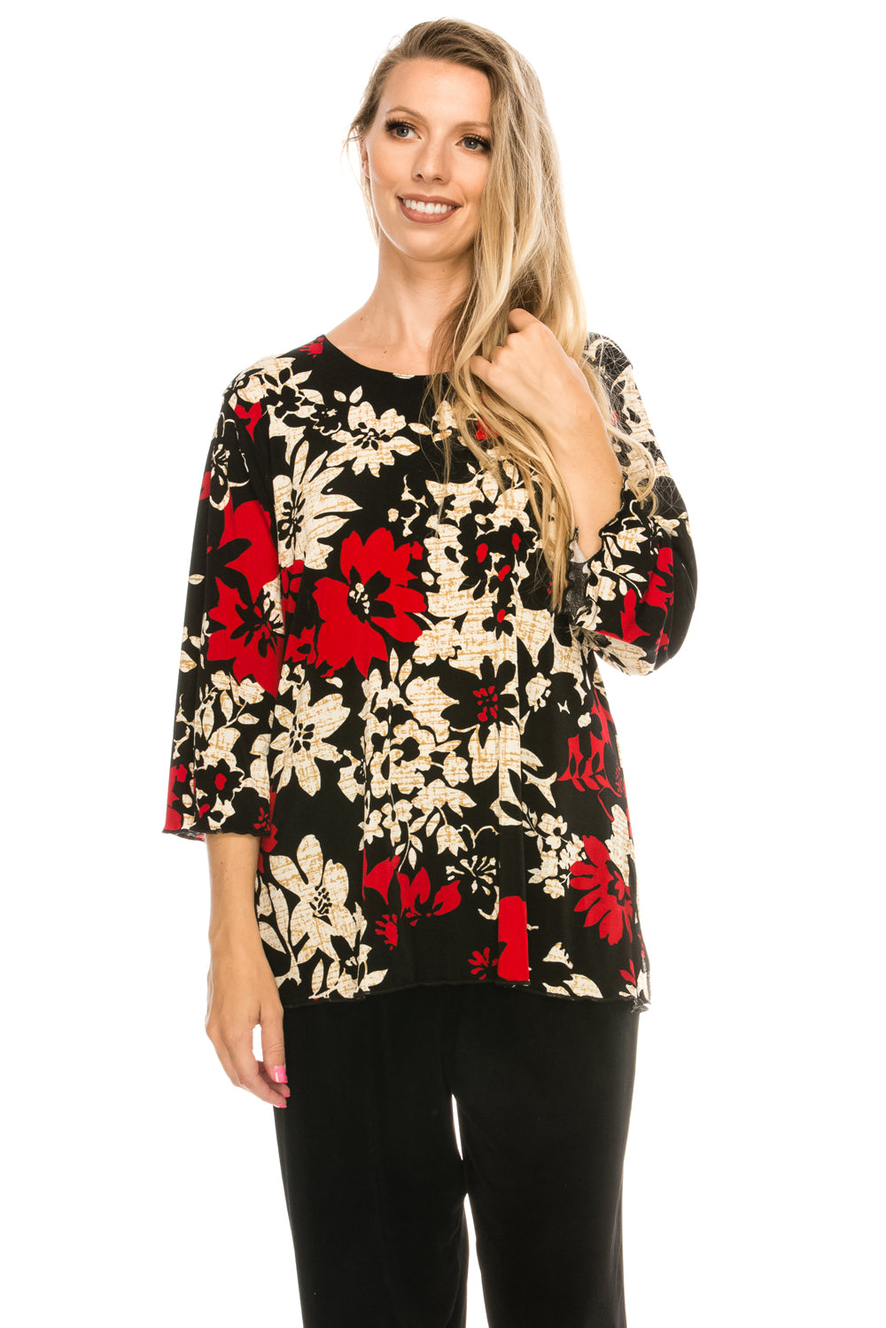 Jostar Women's Stretchy Merrow Top Three Quarter Print, 158BN-QP-W161 - Jostar Online