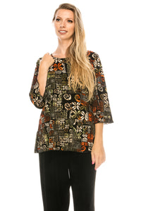 Jostar Women's Stretchy Merrow Top Three Quarter Print, 158BN-QP-W167 - Jostar Online