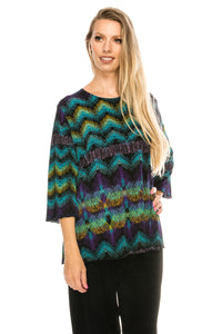 Jostar Women's Stretchy Merrow Top Three Quarter Print-158BN-QRP1-W176 - Jostar Online