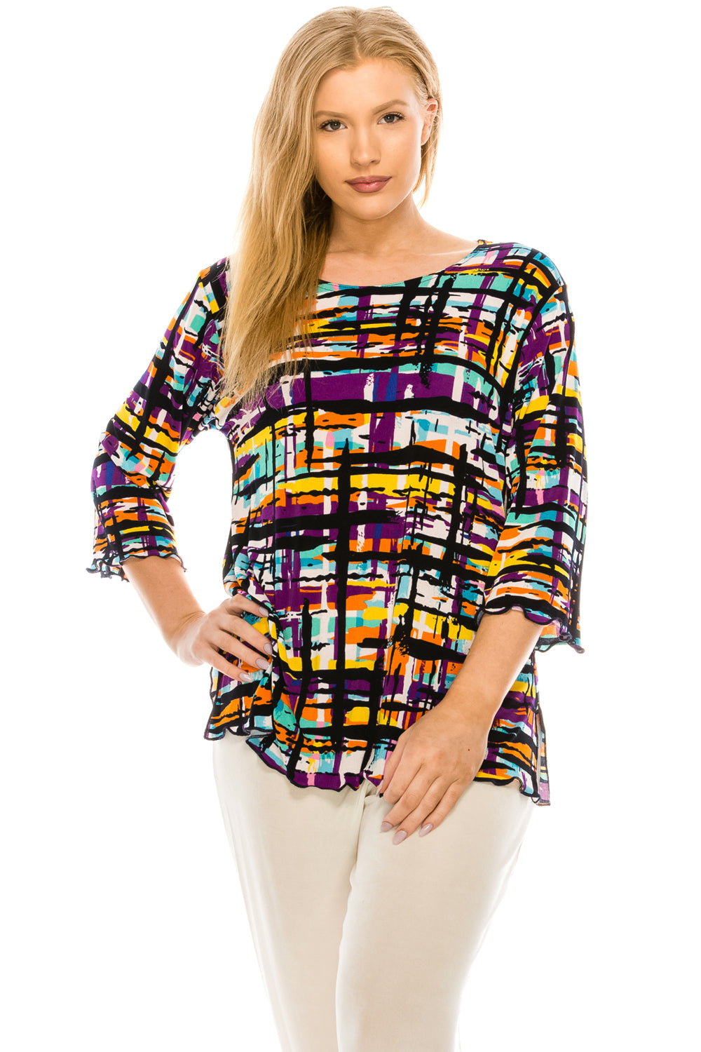 Jostar Women's Stretchy Merrow Top Three Quarter Print, 158BN-QP-W198 - Jostar Online