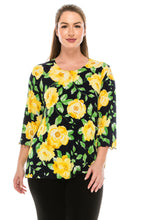 Load image into Gallery viewer, Jostar Women's Stretchy Merrow Top 3/4 Sleeve Print Plus, 158BN-QXP-W020 - Jostar Online